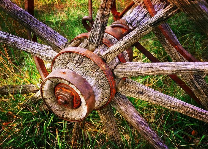 Wagon Wheel Greeting Card featuring the photograph Yesterday's Wheel by Marty Koch