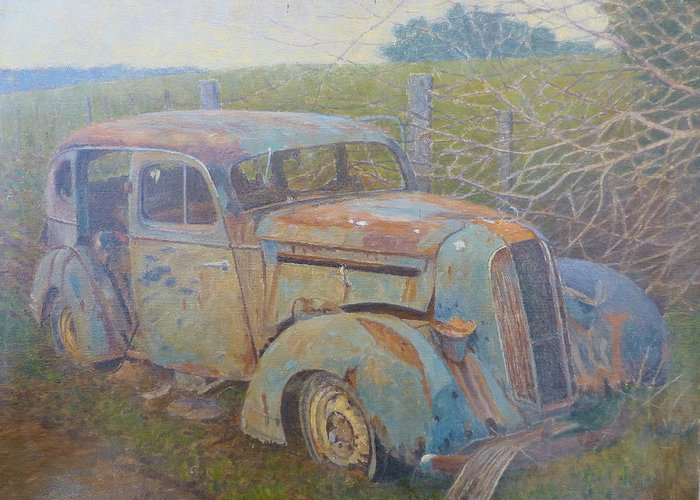 Cars Greeting Card featuring the painting Yesteryear Catlins 1980s by Terry Perham