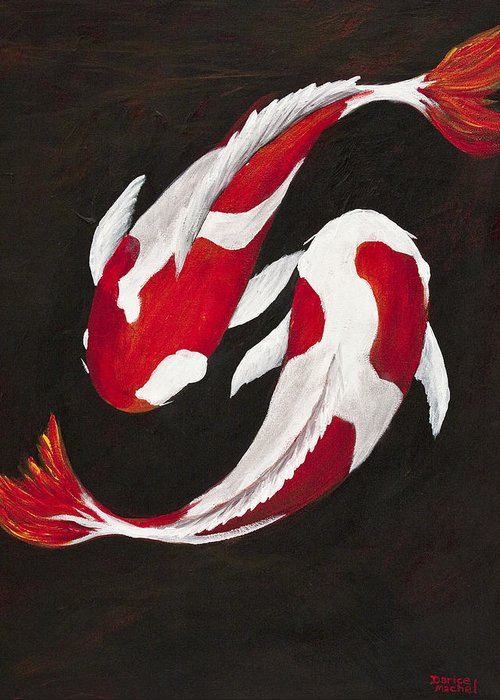 Animal Greeting Card featuring the painting Yin And Yang by Darice Machel McGuire