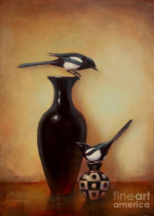 Black And White Greeting Card featuring the painting Yin Yang - Magpies by Lori McNee