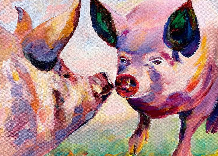Hogs Greeting Card featuring the painting Yoga is Our Sport by Naomi Gerrard