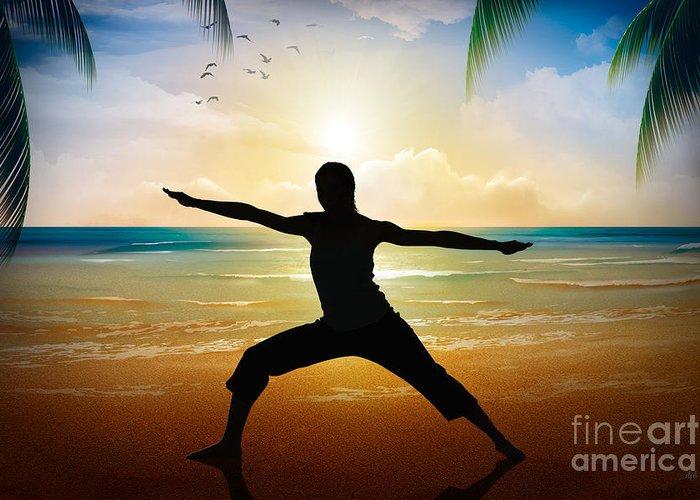 Yoga Greeting Card featuring the digital art Yoga On Beach by Bedros Awak