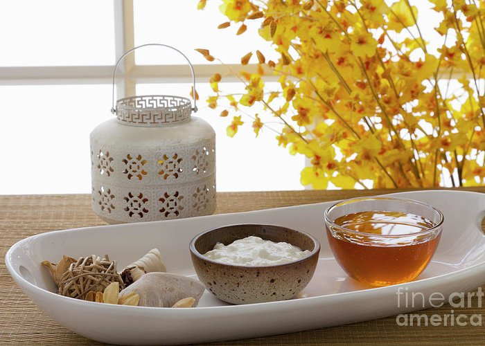 Spa Greeting Card featuring the photograph Yogurt And Honey On A Tray In A Spa by Juan Silva