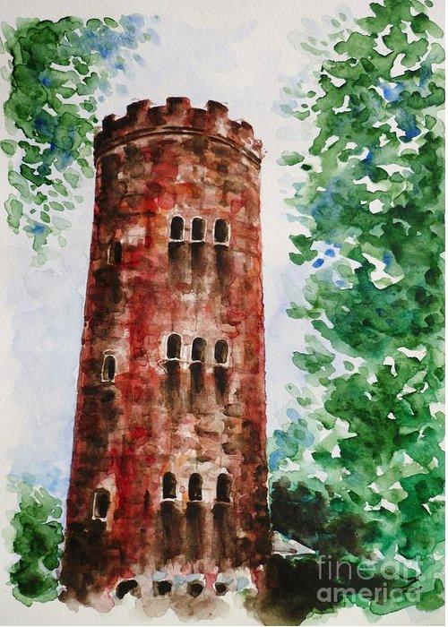 Yokahu Tower Greeting Card featuring the painting Yokahu Tower by Zaira Dzhaubaeva
