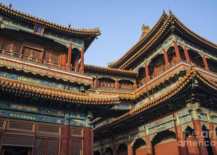 Ancient Greeting Card featuring the photograph Yonghe Temple Aka Lama Temple In China by Bryan Mullennix