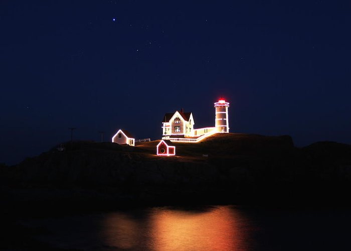 Nubble Lighthouse Greeting Card featuring the photograph York Light by Andrea Galiffi