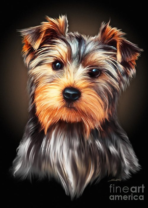 Spano Greeting Card featuring the painting Yorkie Portrait By Spano by Michael Spano