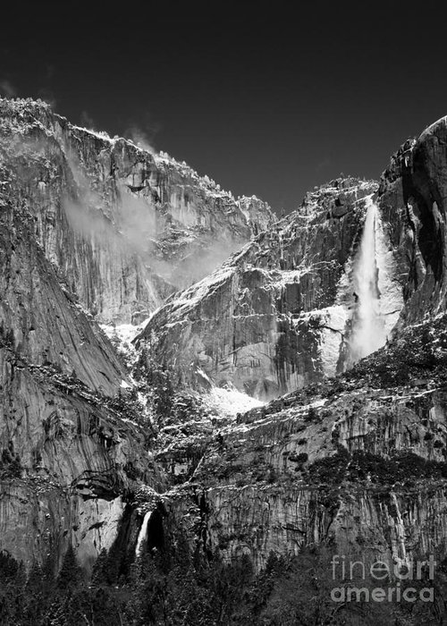 Landscapes Greeting Card featuring the photograph Yosemite Falls In Black And White II by Bill Gallagher