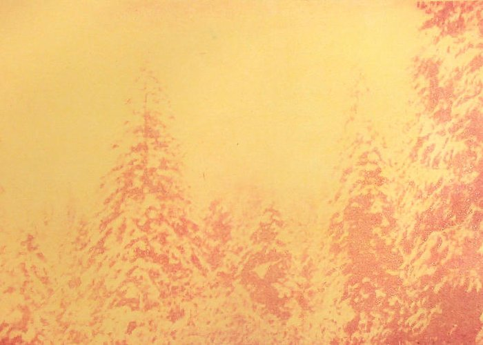 Yosemite Greeting Card featuring the painting Yosemite Forest in Red and Yellow by Philip Fleischer