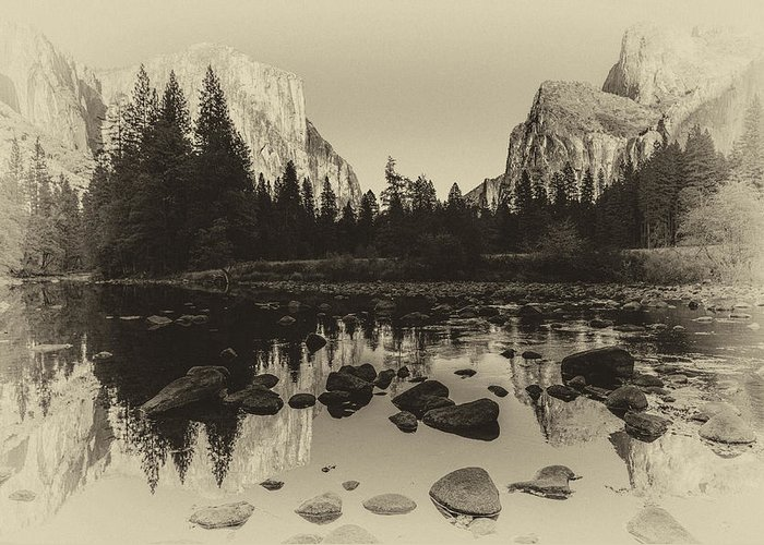 Ansel Adams Inspired Greeting Card featuring the photograph Yosemite National Park Valley View Antique Print  by Scott McGuire