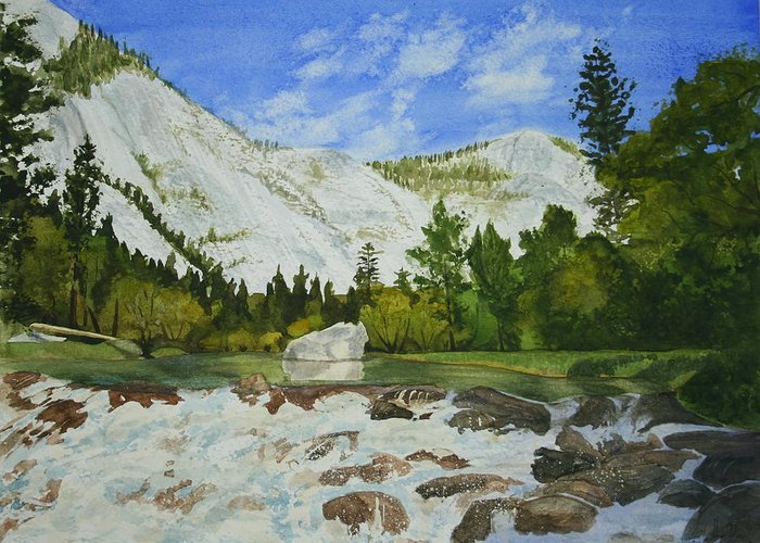 Landscape Greeting Card featuring the painting Yosemite Park by Monika Degan