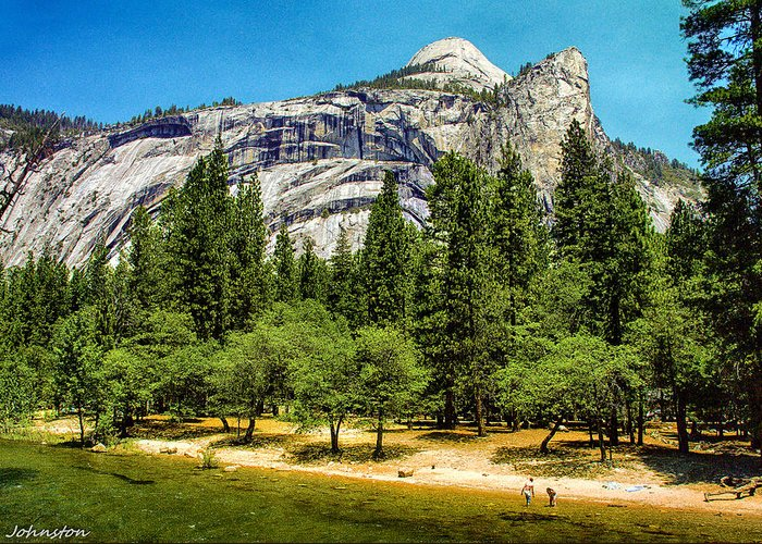 Beautiful Greeting Card featuring the painting Yosemite Valley Along Yosemite River Beach by Bob and Nadine Johnston