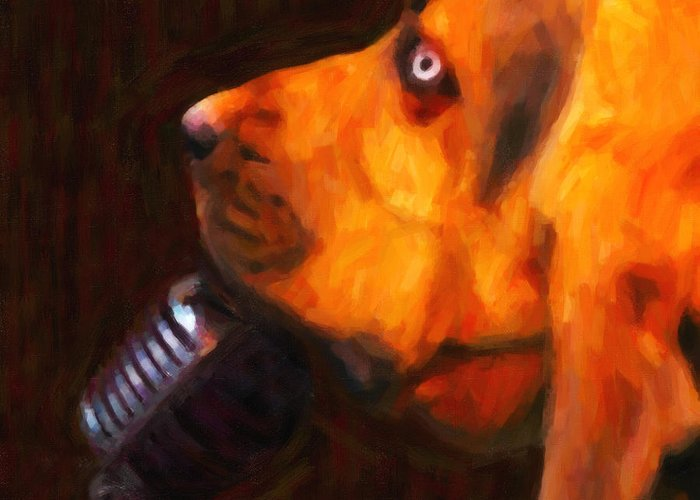 Animal Greeting Card featuring the photograph You Ain't Nothing But A Hound Dog - Dark - Painterly by Wingsdomain Art and Photography