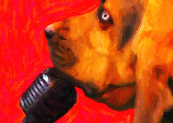 Animal Greeting Card featuring the photograph You Ain't Nothing But A Hound Dog - Red - Painterly by Wingsdomain Art and Photography