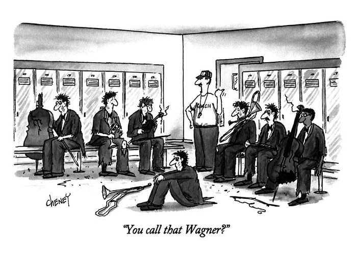 In A Locker Room Greeting Card featuring the drawing You Call That Wagner? by Tom Cheney
