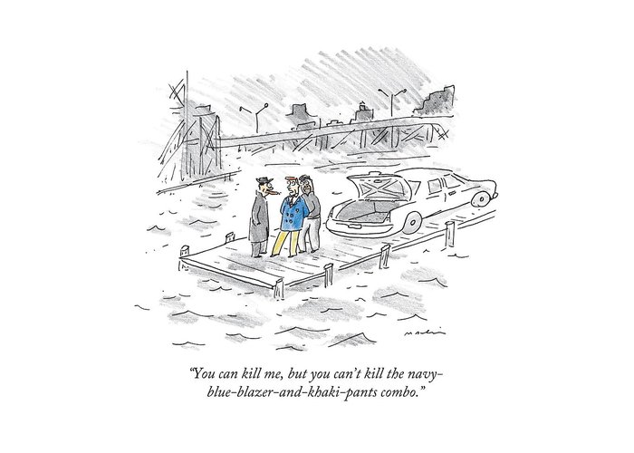 Mobsters Greeting Card featuring the drawing You Can Kill by Michael Maslin