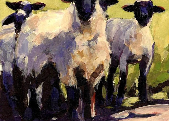 Sheep Greeting Card featuring the painting You First by Molly Poole