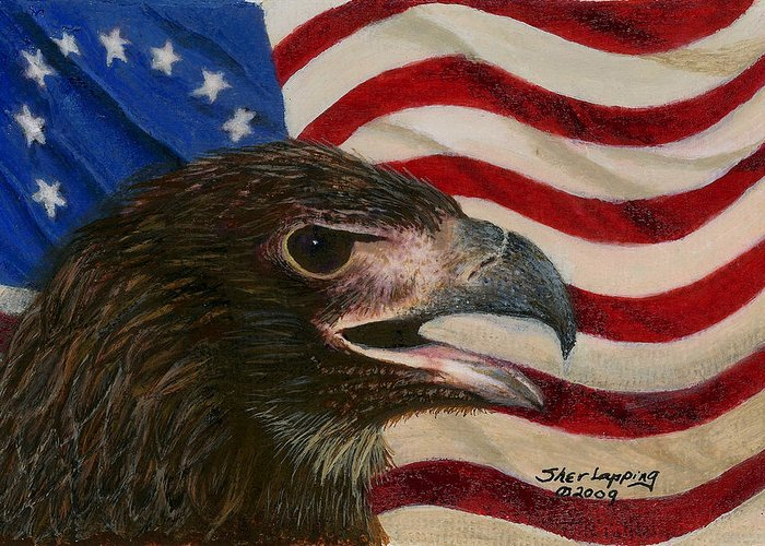 Eagle Greeting Card featuring the painting Young Americans by Sherryl Lapping