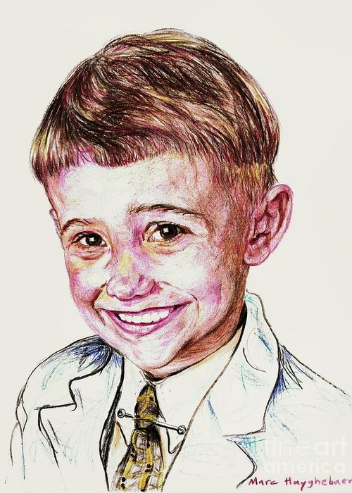 Send A High Resolution Picture Of Your Loved One To Email: Eendina@excite.com . Indicate In Your Email Greeting Card featuring the drawing Young Boy by PainterArtistFINs Husband MAESTRO