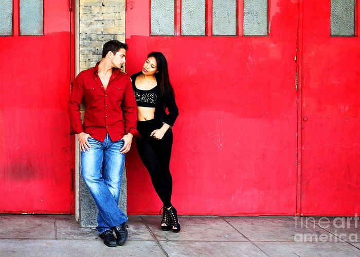 Filipino Greeting Card featuring the photograph Young Couple Red Doors by Henrik Lehnerer