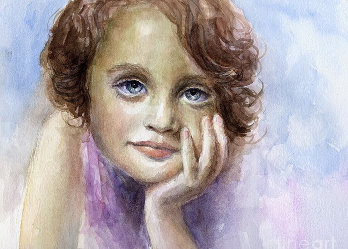 Child Portrait Greeting Card featuring the painting Young Girl Child Watercolor Portrait by Svetlana Novikova
