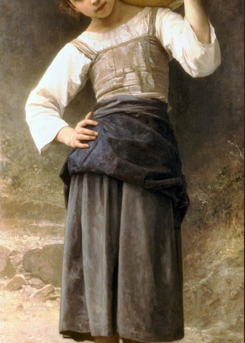 Young Girl Going To The Fountain Greeting Card featuring the digital art Young Girl Going To The Fountain by William Bouguereau