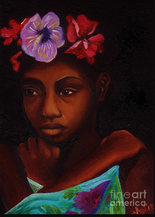 Oil Greeting Card featuring the painting Young Girl With Flowers by Elaan Yefchak