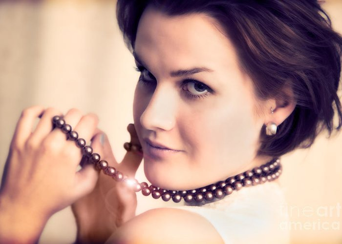 Necklace Greeting Card featuring the photograph Young Glamour Lady With Gold Necklace by Michal Bednarek