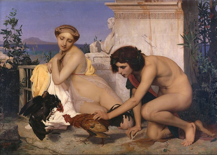 Young Greeks Attending A Cock Fight Greeting Card featuring the digital art Young Greeks Attending A Cock Fight by Jean Leon Gerome