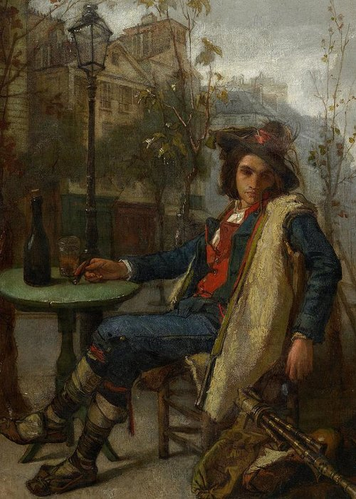 Young Italian Street Musician Greeting Card featuring the painting Young Italian Street Musician by Thomas Couture