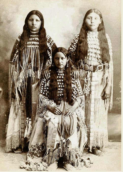 Young Kiowa Belles 1898 Greeting Card featuring the photograph Young Kiowa Belles 1898 by Unknown