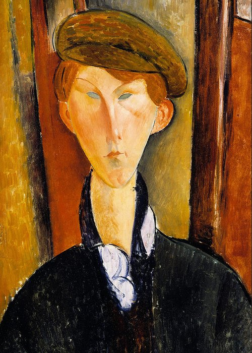 Modigliani Greeting Card featuring the painting Young Man With Cap by Amedeo Modigliani