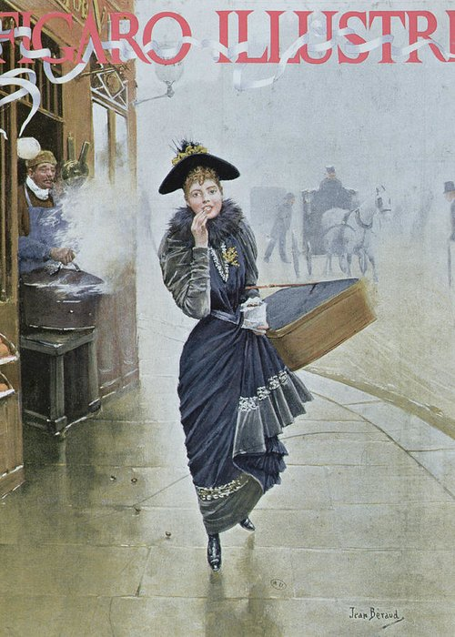 Street Scene Greeting Card featuring the painting Young Parisian Hatmaker by Jean Beraud