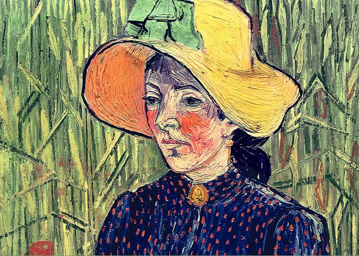 Poppy; Background; Apron; Brooch; Cameo; Portrait; Post-impressionist; Post-impressionism Greeting Card featuring the painting Young Peasant Girl In A Straw Hat Sitting In Front Of A Wheatfield by Vincent van Gogh
