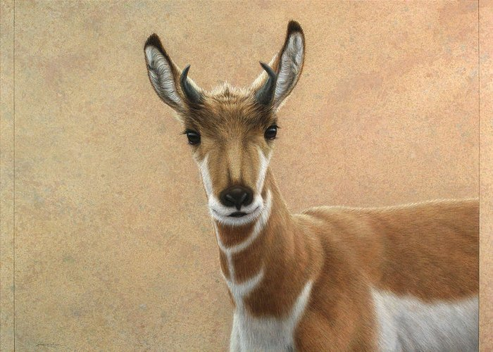 Cute Greeting Card featuring the painting Young Pronghorn by James W Johnson