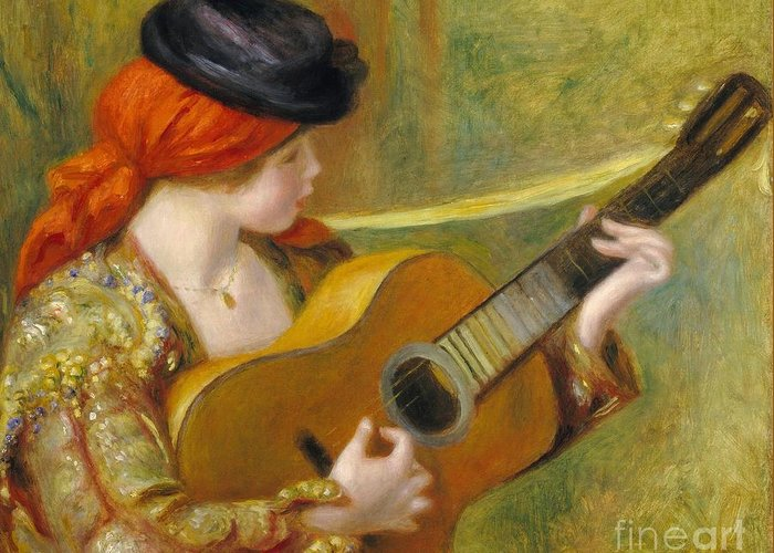 Music; Female; Playing; Instrument; Profile; Impressionist; Impressionism; Musician; Traditional; Costume Greeting Card featuring the painting Young Spanish Woman With A Guitar by Pierre Auguste Renoir