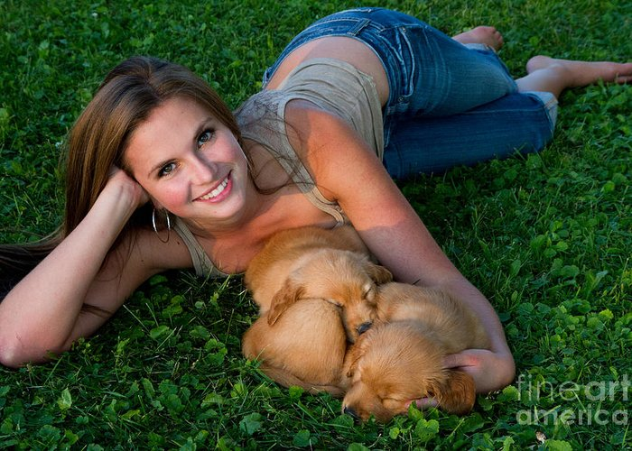 Nature Greeting Card featuring the photograph Young Woman And Golden Retriever Puppies by Linda Freshwaters Arndt