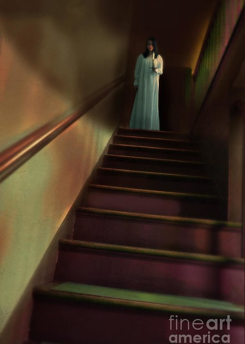 Woman Greeting Card featuring the photograph Young Woman In Nightgown On Stairs by Jill Battaglia