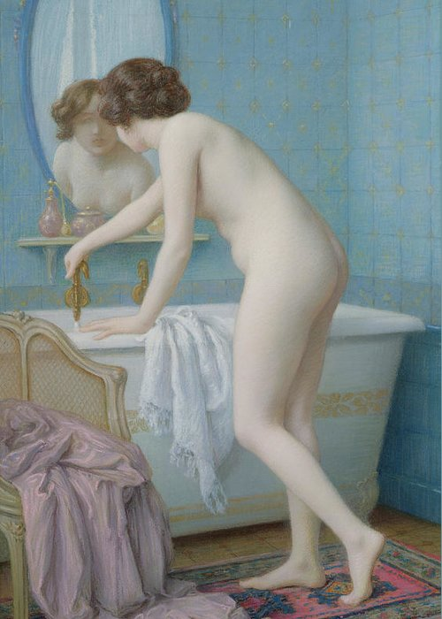 Mirror Greeting Card featuring the painting Young Woman Preparing Her Bath by Jules Scalbert