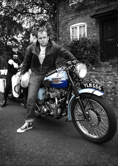 Triumph Motorcycle Greeting Card featuring the photograph You're Nicked by Mark Rogan