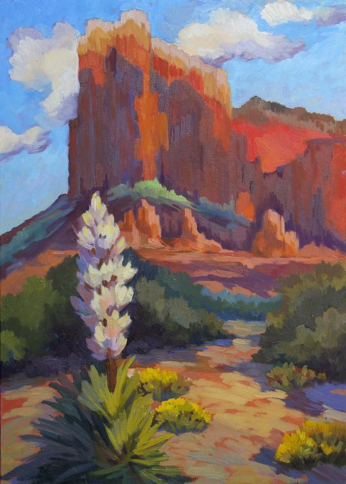 Sedona Greeting Card featuring the painting Yucca At Sedona by Diane McClary
