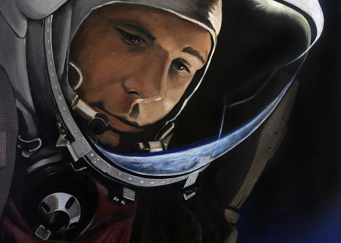 Yuri Gagarin Greeting Card featuring the painting Yuri Alekseyevich Gagarin by Simon Kregar