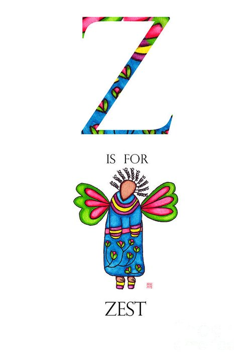 Greeting Card featuring the painting Z Is For Zest by Emily Lupita Studio