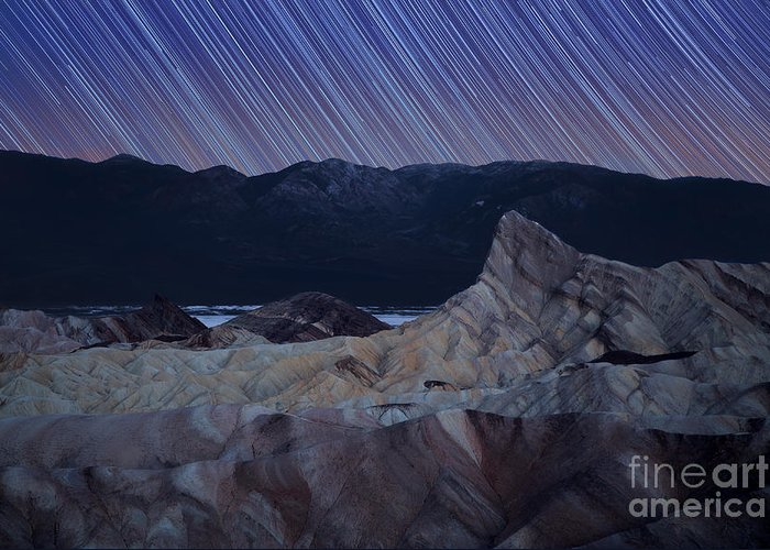 Star Greeting Card featuring the photograph Zabriskie Point Star Trails by Jane Rix