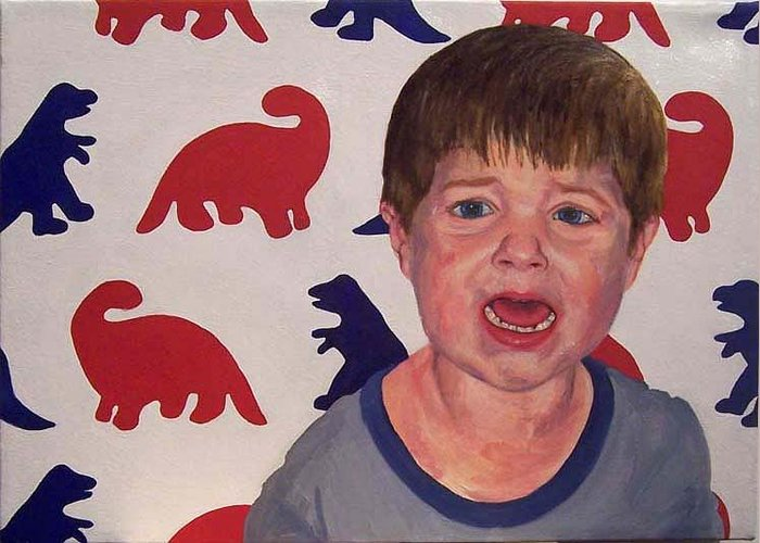 Child Greeting Card featuring the painting Zachary G With Dinos by Marianne Devine