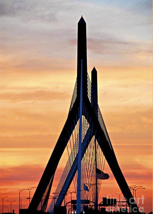 Zakim Greeting Card featuring the photograph Zakim Bridge In Boston by Elena Elisseeva