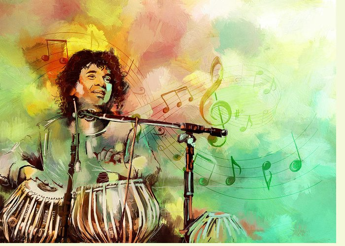 Zakir Greeting Card featuring the painting Zakir Hussain by Catf