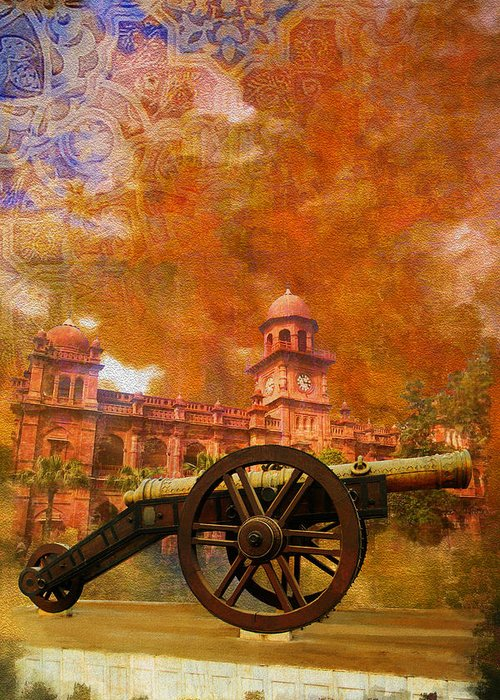 Pakistan Greeting Card featuring the painting Zamzama Tope Or Kim's Gun by Catf