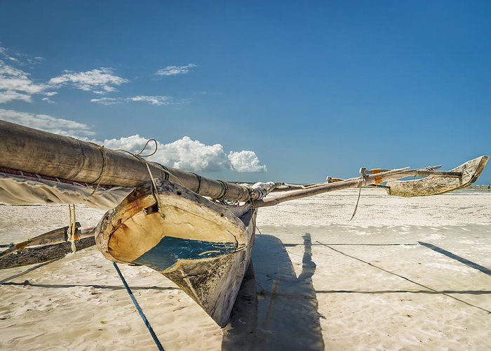 3scape Greeting Card featuring the photograph Zanzibar Outrigger by Adam Romanowicz