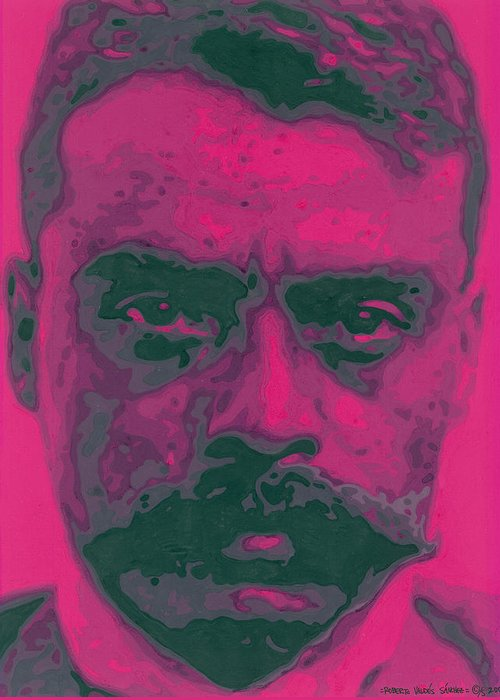 Emiliano Zapata Greeting Card featuring the painting Zapata Intenso by Roberto Valdes Sanchez